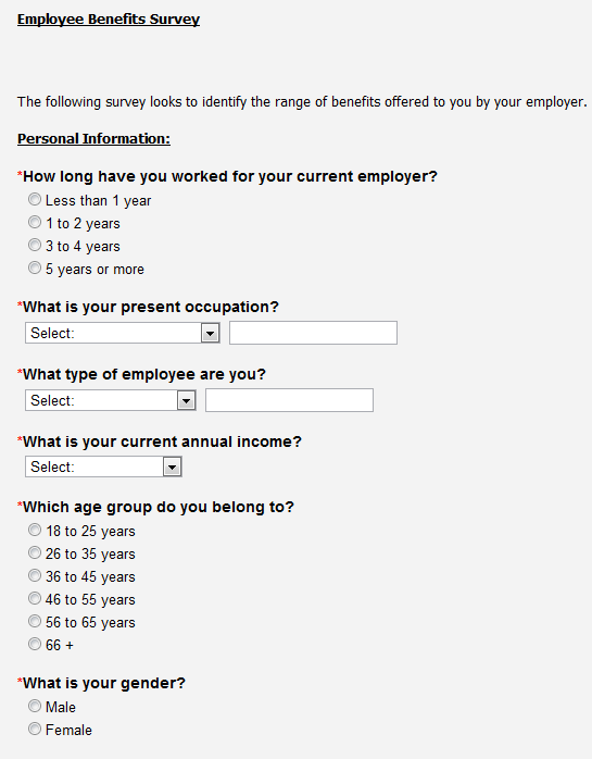 employee benefits survey questionnaire